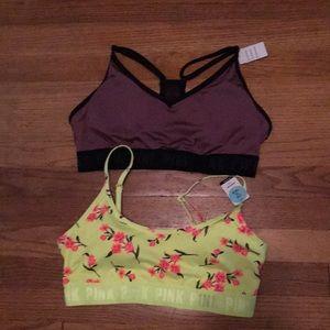 Pink Victoria Secret sports bra bundle, NWT, L